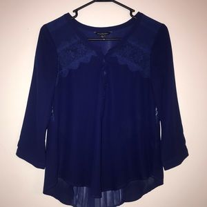 AEO Royal Blue Lacey Sheer Blouse